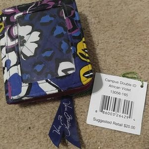 NWT Vera Bradly African Violet Campus Double ID